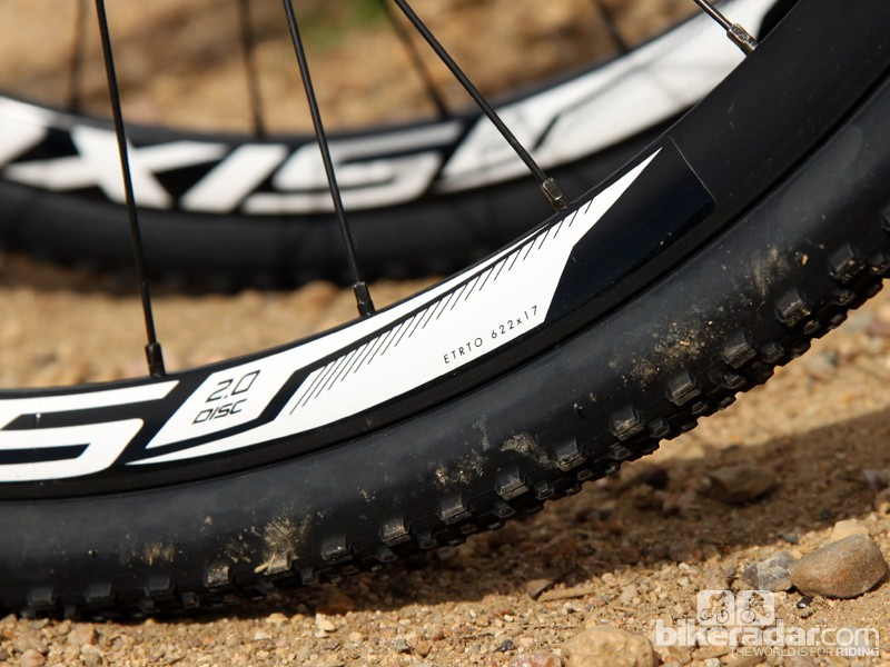 The included DT Swiss Axis 2.0 clinchers are just slightly wider than traditional road rims with a 17mm internal width