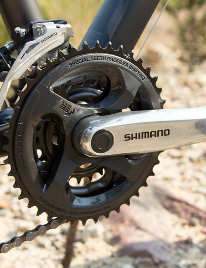 The basic Shimano crank was sluggish to shift and non-replaceable chainrings means a new crankset if things go wrong