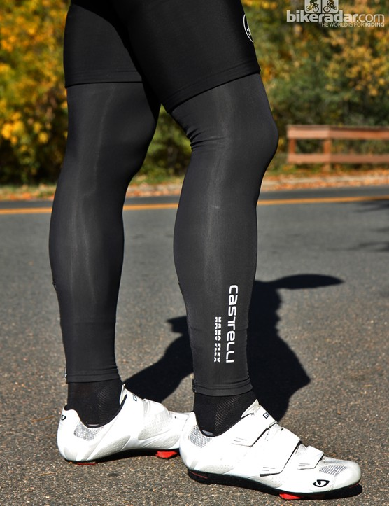 Castelli Nanoflex leg warmers are not waterproof, but they do deflect light rain and road spray quite well