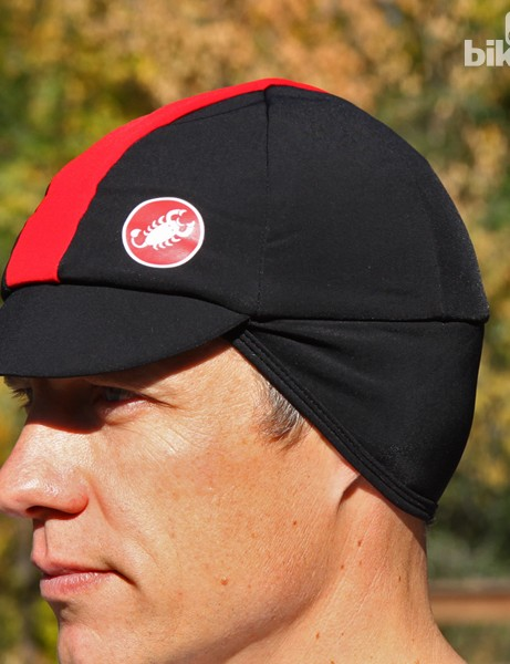 Castelli winter hat uses a polypro liner for warmth and wicking. The ear flaps can tuck up inside the hat