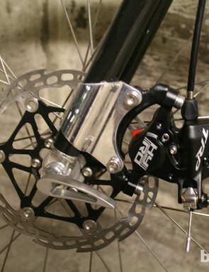 The disc-ready fork is sourced from US brand Wound Up Composites