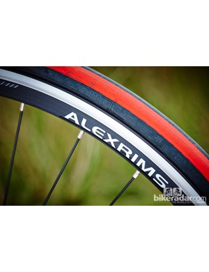 The wheel's feature Merida's own rims built onto Shimano 105 hubs