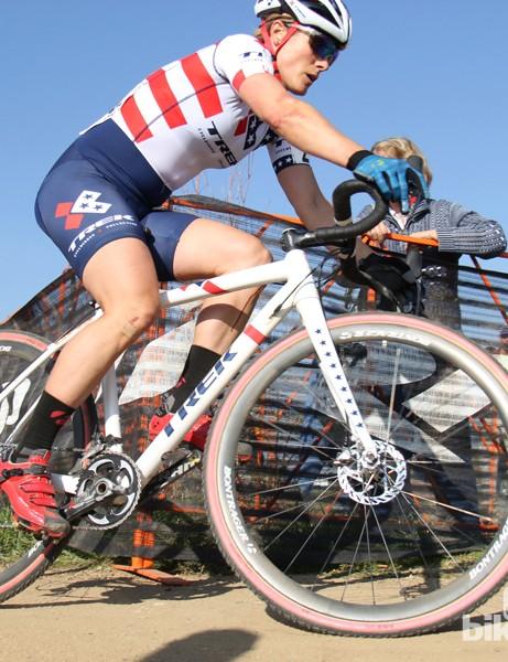 Katie Compton (Trek Cyclocross Collective) is racing aboard Trek's alloy Crocket. Her bike weighs 8.14kg (17.95lb)