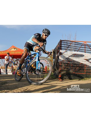 Ben Berden (Raleigh/Clement) rides a Raleigh RXC Pro with 1x11 electronic shifting and hydraulic disc brakes
