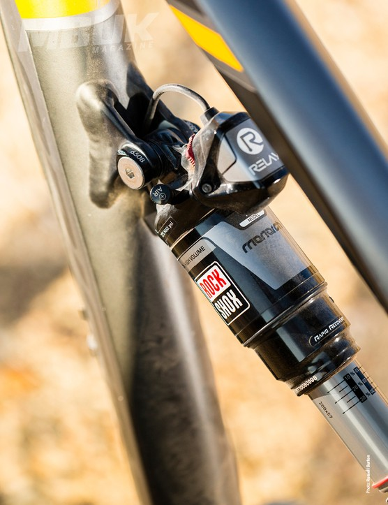 The RockShox Monarch EI shock is stiff under power on smooth stuff but controlled in the rough