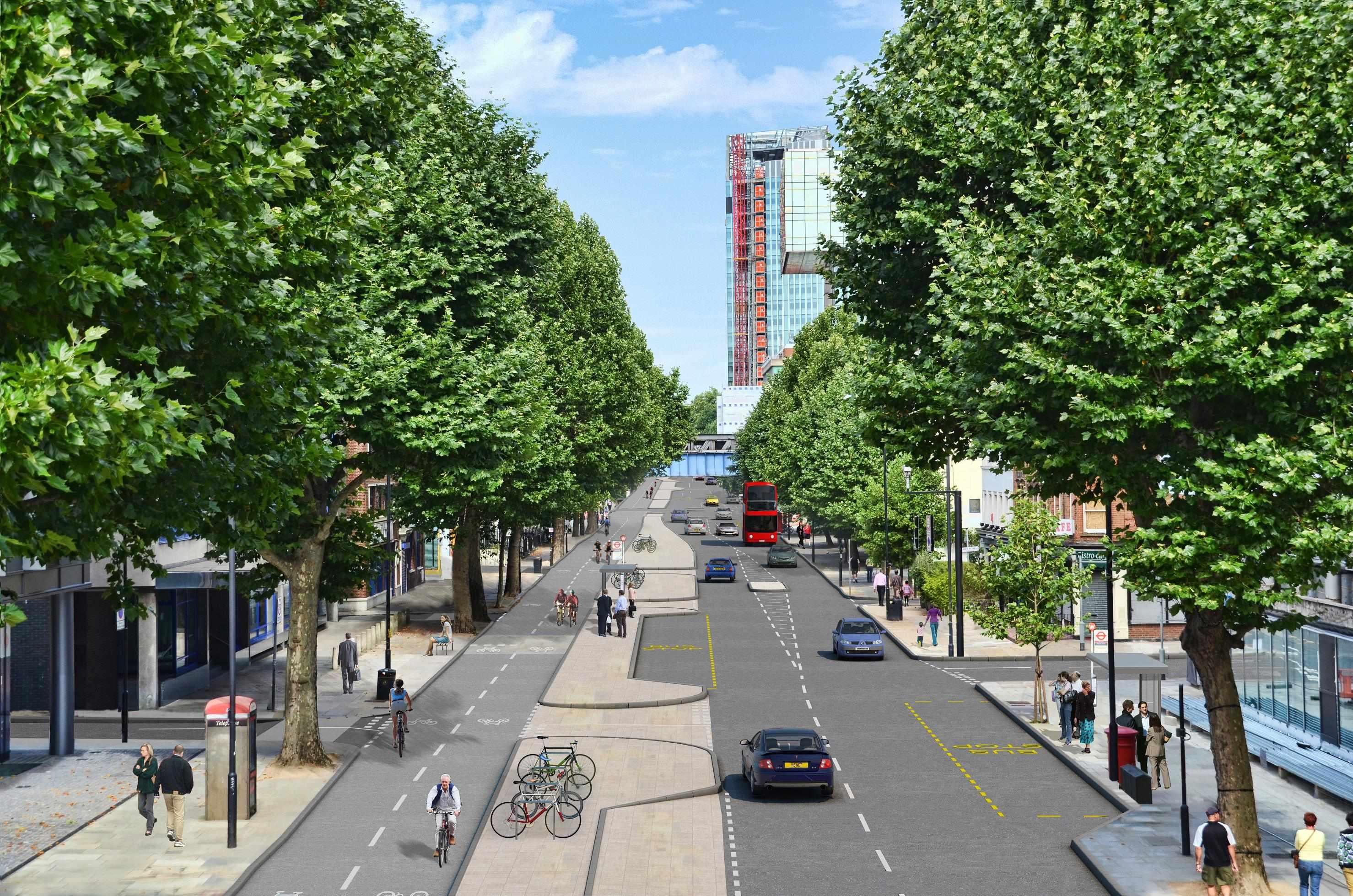 Virtual interpretation of Blackfriars Road, part of the London Cycle Superhighway