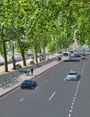 London's Victoria Embankment complete with fully segregated Cycle Superhighway
