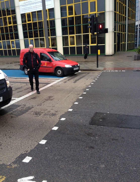 London cycling commissioner Andrew Gilligan asks a Royal Mail asks a law-breaking Royal Mail van driver to move off CS2