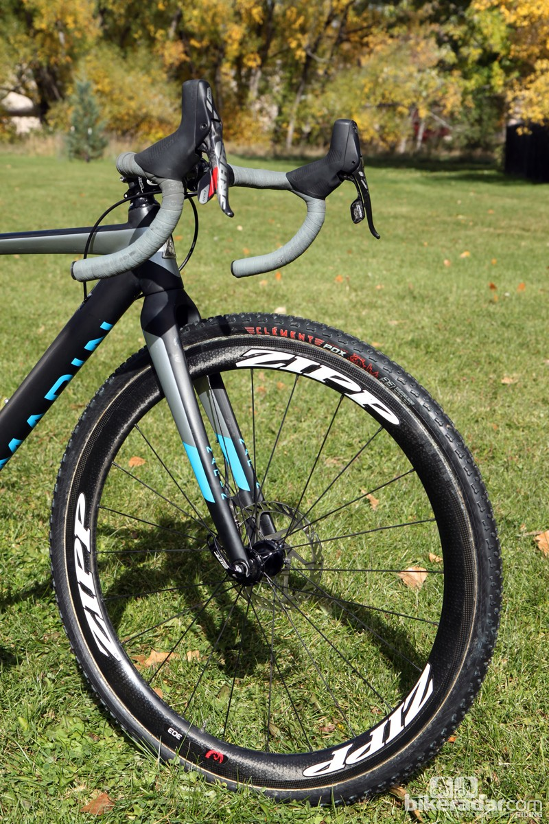 Clement tires are mounted on Zipp 303 Firecrest Tubular Disc wheels