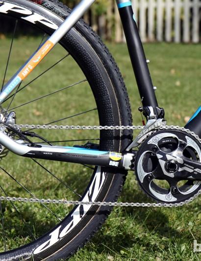 The dropped stay should make for reduced chain slap on Nicole Duke's (Marin Bikes/Spy Optics) Marin Cortina T3 CX Pro