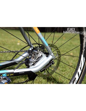 Marin tucks the rear brake caliper in between the stays. Note the fender mounts too