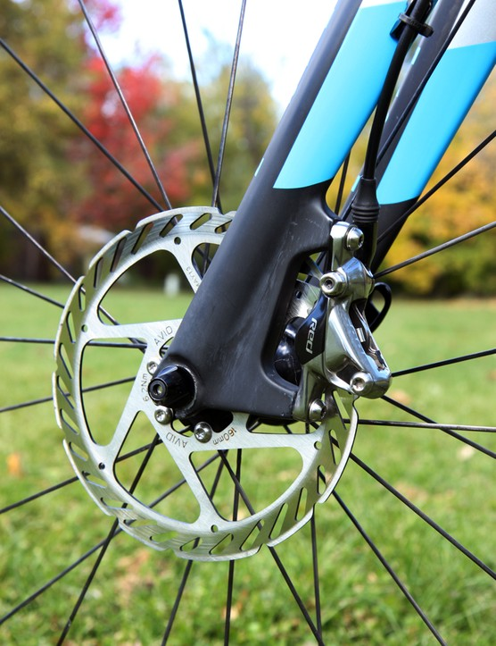 As we're noticing on an increasing number of SRAM hydraulic brake-equipped 'cross racers, Nicole Duke (Marin Bikes/Spy Optics) has paired her Red HRD hydraulic calipers with Avid G2 rotors
