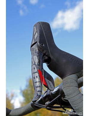 Nicole Duke's (Marin Bikes/Spy Optics) SRAM Red 22 Hydro Shifter levers are already showing some scars
