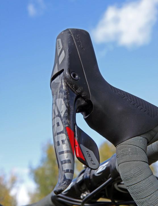 Nicole Duke's (Marin Bikes/Spy Optics) SRAM Red 22 Hydro Shifter levers are already showing some scars