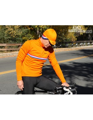 Rapha winter wear: The country jerseys —for Holland, Norway and the United States —are made of Sportwool and are offered with matching winter hats
