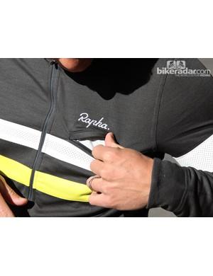 Rapha winter wear: The chest pocket is waterproof
