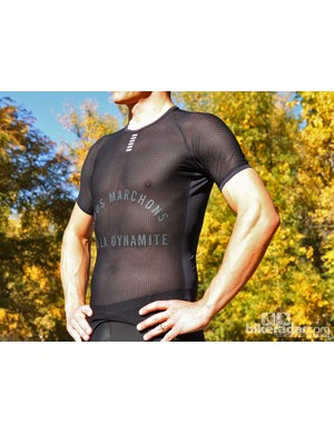 Rapha winter wear: The text on the base layer reads, 'we run on dynamite'