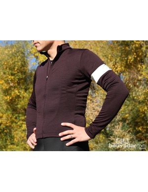 Rapha winter wear: The long sleeve jersey comes in light grey, 'old gold' and this 'dark fig'
