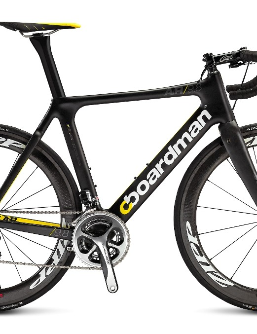 The Boardman AiR 9.8 is a thoroughbred aero race machine kitted with Shimano Dura-Ace and Zipp 404 Firecrest wheels