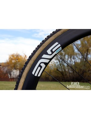 Enve Composites' Smart System carbon rims are usually more highly touted for their aerodynamic performance but Joachim Parbo (Challenge Tires) says the wide profile is perfect for gluing up fat tubulars, too