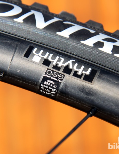 Bontrager conveniently labels the spoke lengths right on the rim in case a replacement is ever needed. Ignore the ETRTO label, however. Actual internal width is 22.5mm