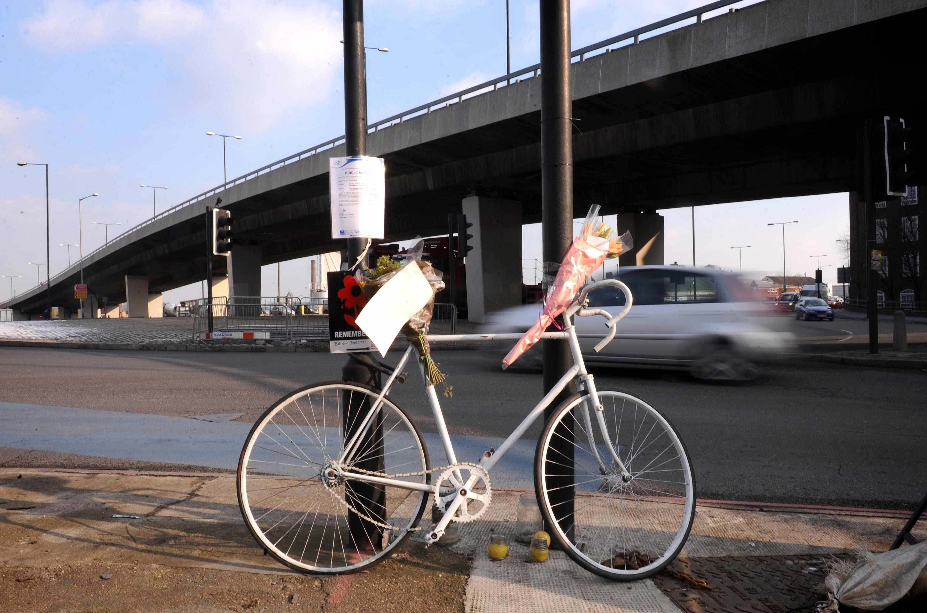 A ghost bike in memory of Brian Dorling killed at Bow Roundabout - the scene of the latest London cycling death