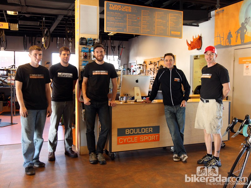 Boulder Cycle Sport co-owner Brandon Dwight (second from right) stresses the importance of having a knowledgeable and experienced staff so that his customers feel properly served