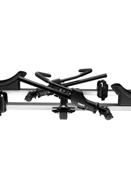 The Thule T2 is a tray-style hitch rack that holds bikes by the wheels
