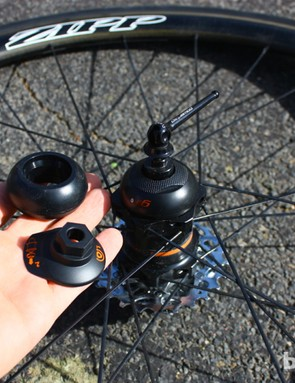 PowerTap GS Zipp 202 Bluetooth wheelset: The Bluetooth and ANT+ Powercaps can be swapped easily — although the second one costs $130