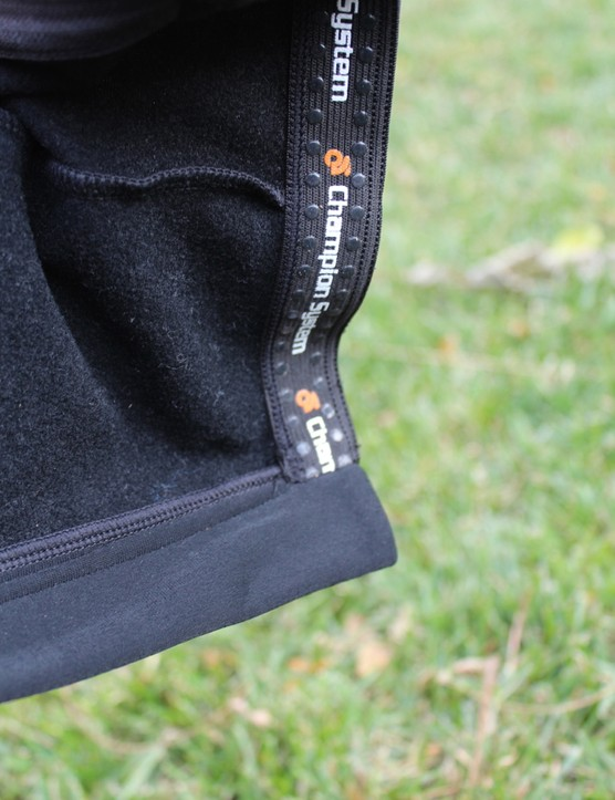 Champion System Custom Cyclocross warm-up tights: Simple grippers with silicone dots keep the legs in place