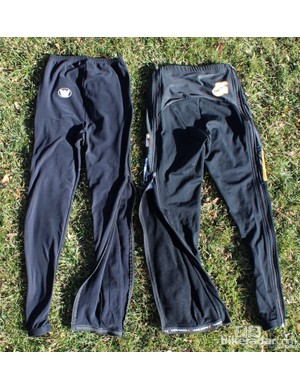BikeRadar cyclocross zip-up tights battle: The Vermarc at left is pretty straightforward; the Champion System at left has double zippers, zipper backings and can be custom sublimated