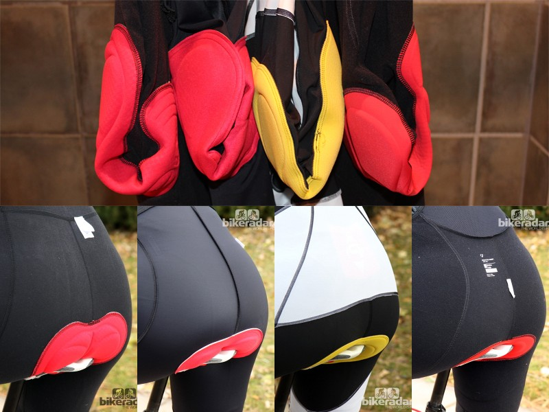 How a chamois sits on a hanger suggests how it will sit on the bike. All the pads above are facing with the front to the right