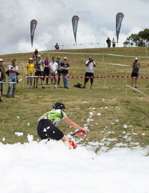 More foam at the Rapha SuperCross - high winds made a real mess