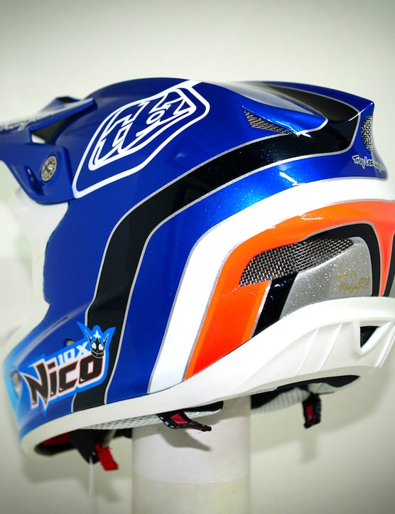 Nico Vouilloz' custom Troy Lee Designs D3 helmet: the colours have been chosen to show Nico's affiliation with his frame sponsor and employer, Lapierre
