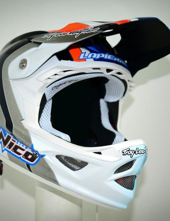Nico Vouilloz' custom Troy Lee Designs D3 helmet has his name emblazened on both sides