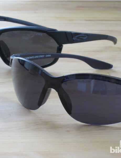 Smith's US$199 PivLock Overdrive (left) are stellar shades, but these US$5 sunglasses (right) I picked up at a truck stop also get the job done