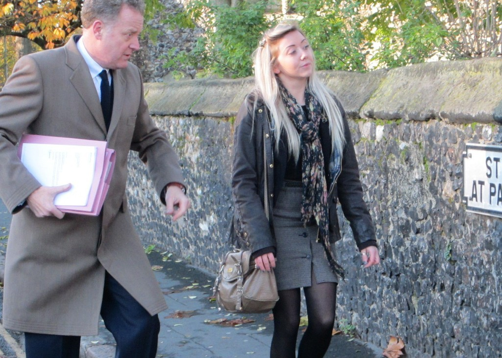 Emma Way arriving at Norwich Magistrates with her solicitor Simon Nicholls