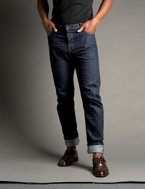 The Upright Cyclist Salvage Riding Denim has a reinforced crotch area for riding durability