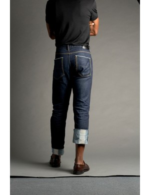 The Upright Cyclist Salvage Riding Denim has some stretch, with polyester and lycra worked into the cotton