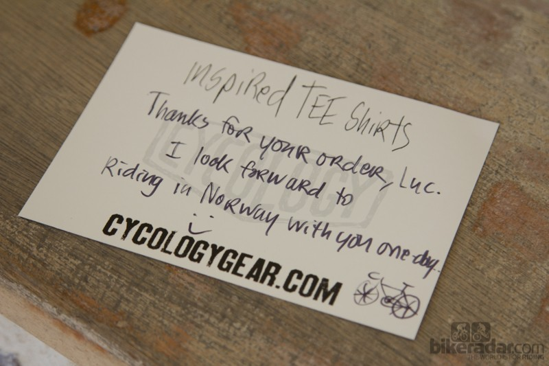 Personalised thank you cards isn't something you see often when shopping – enjoy your shirts Luc!
