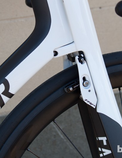 TRP's TTV brakes are alloy instead of the carbon models used on the Dura-Ace build