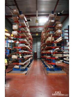 Rim extrusions are stored on these giant racks. While the extruding isn't actually done on-site, the rim rolling, cutting, and joining processes certainly are