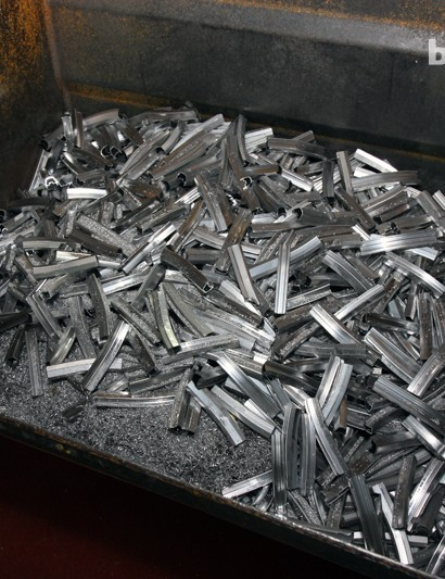 Scrap aluminum that will eventually be sent off to be recycled