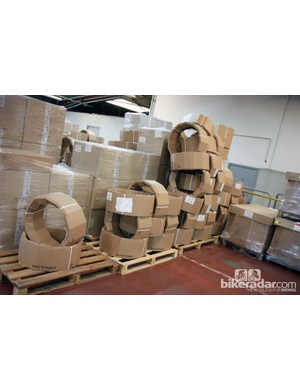Mavic uses custom cardboard wraps to ship its rims. Note how they're stacked, too