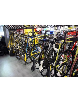 This is how Mavic stores bikes inside the service course at its headquarters in Annecy, France