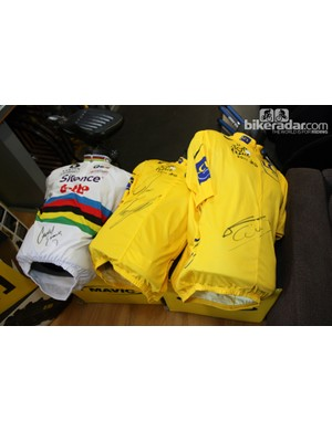 The Mavic service course receives so many signed jerseys that it's sometimes hard to find a place for all of them