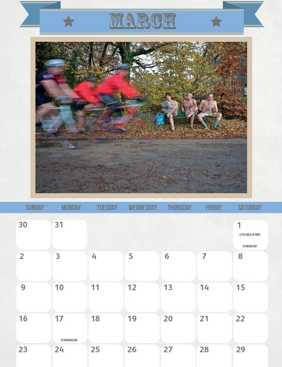 This is what you'll be subjected to in the Willies and Wheels Calender during March
