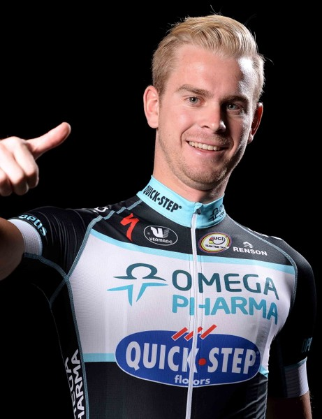 Julien Vermote models the 2014 Vermarc Omega Pharma Quick-Step kit