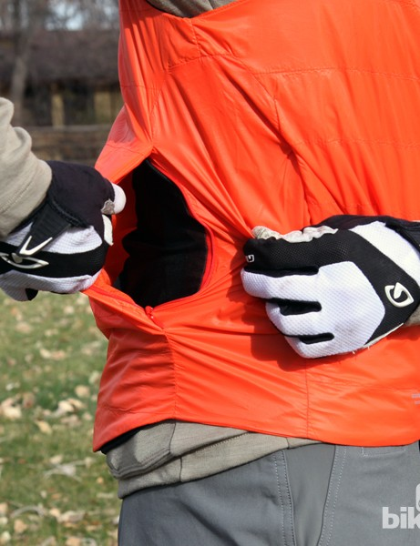 A hidden pocket on the Giro New Road Insulated Vest gives you an inconspicuous place to store a few key items