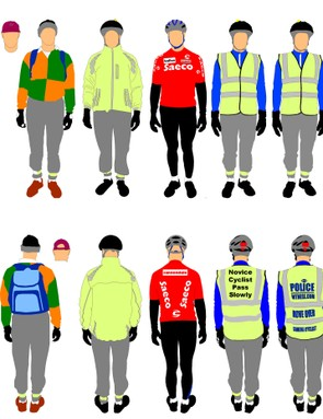 The seven outfits worn by the researcher during his 52km round-trip commute